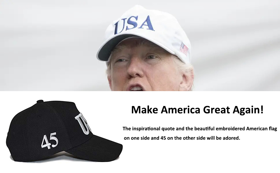 361499338 ROWILUX USA 45 Trump Make America Great Again Embroidered Hat with Flag