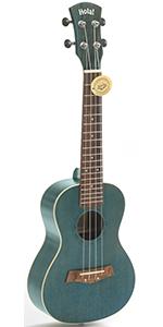 Concert Ukulele Deluxe Series Blue HM-124BU+ 24 Inch Aquila Nylgut Strings Gig Bag Strap Picks