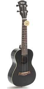 Concert Ukulele Deluxe Series Black HM-124BK+ 24 Inch Aquila Nylgut Strings Gig Bag Strap Picks