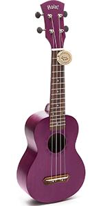 HM-121PP+  Purple Ukulele By Hola Music Bundle Pack Teal Strap Picks Gig Bag Case