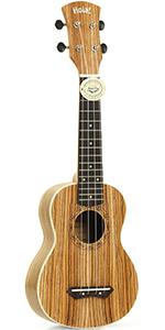 HM-121ZW+  Zebra wood Ukulele By Hola Music Bundle Pack Teal Strap Picks Gig Bag Case