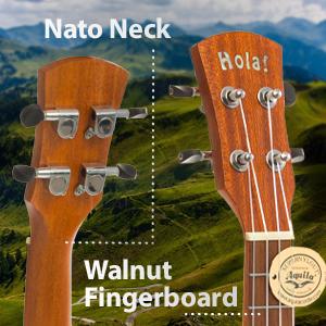 Hola Music HM-124LFT+ Deluxe Concert Left Handed Hand Ukulele Wood Nato Neck Walnut Fingerboard