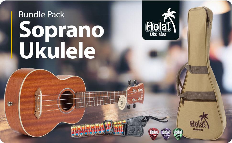 Hola! Music HM-121MG+ Soprano Ukulele Bundle Pack Mahogany Bag Case strap picks