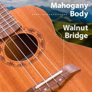 Hola Music HM-124LFT+ Deluxe Concert Left Handed Hand Ukulele Wood Mahogany Body Walnut Bridge