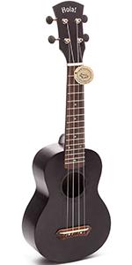 HM-121BK+  Black Ukulele By Hola Music Bundle Pack Teal Strap Picks Gig Bag Case