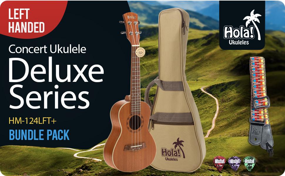 Hola! Music HM-124LFT+  Deluxe Series Left Handed Concert Mahogany Ukulele Bundle Case strap picks