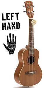 Concert Ukulele LEFT HANDED, Deluxe Series HM-124LFT+ Aquila Nylgut Strings Gig Bag, Strap and Picks