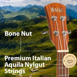 Hola Music HM-124LFT+ Concert Left Hand Ukulele Bone Nut Premium Italian Aquila Nylgut Strings