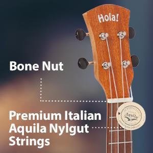 Hola! Music HM-121MG+ Bone Nut Premium Italian Aquila Nylgut Strings