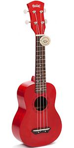 HM-121RD+  Red  Ukulele By Hola Music Bundle Pack Teal Strap Picks Gig Bag Case