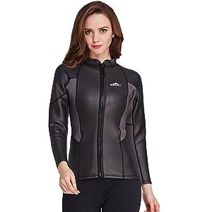 b55d6c51c5 Cahayi Women Men 2mm Neoprene Long Sleeve Diving Jacket Front Zipper Wetsuit  Top