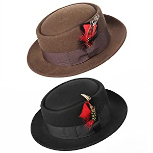 7cd892d13d3e4 Sedancasesa Men s Dress 100% Wool Felt Flat Top Pork Pie Fedora Hats W  Feather
