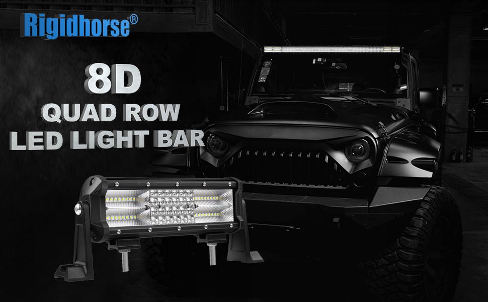 Amazon.com: LED Light Bar Rigidhorse Quad Row 9 Inch 180W Spot light ...