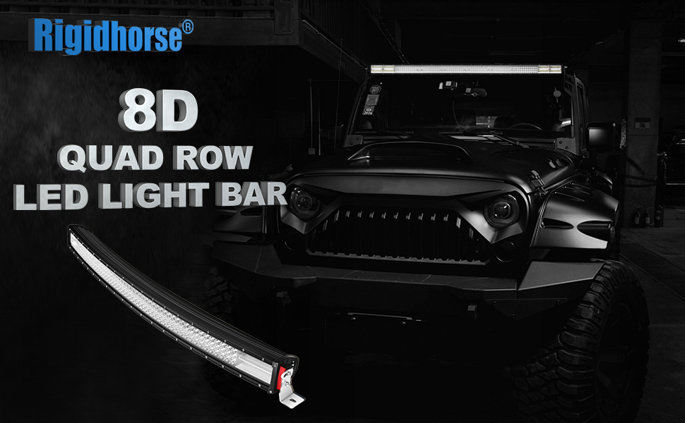 Amazon rigidhorse curved quad row led light bar 42inch 744w rigidhorse 8d quad row led light bar combo beam aloadofball Choice Image
