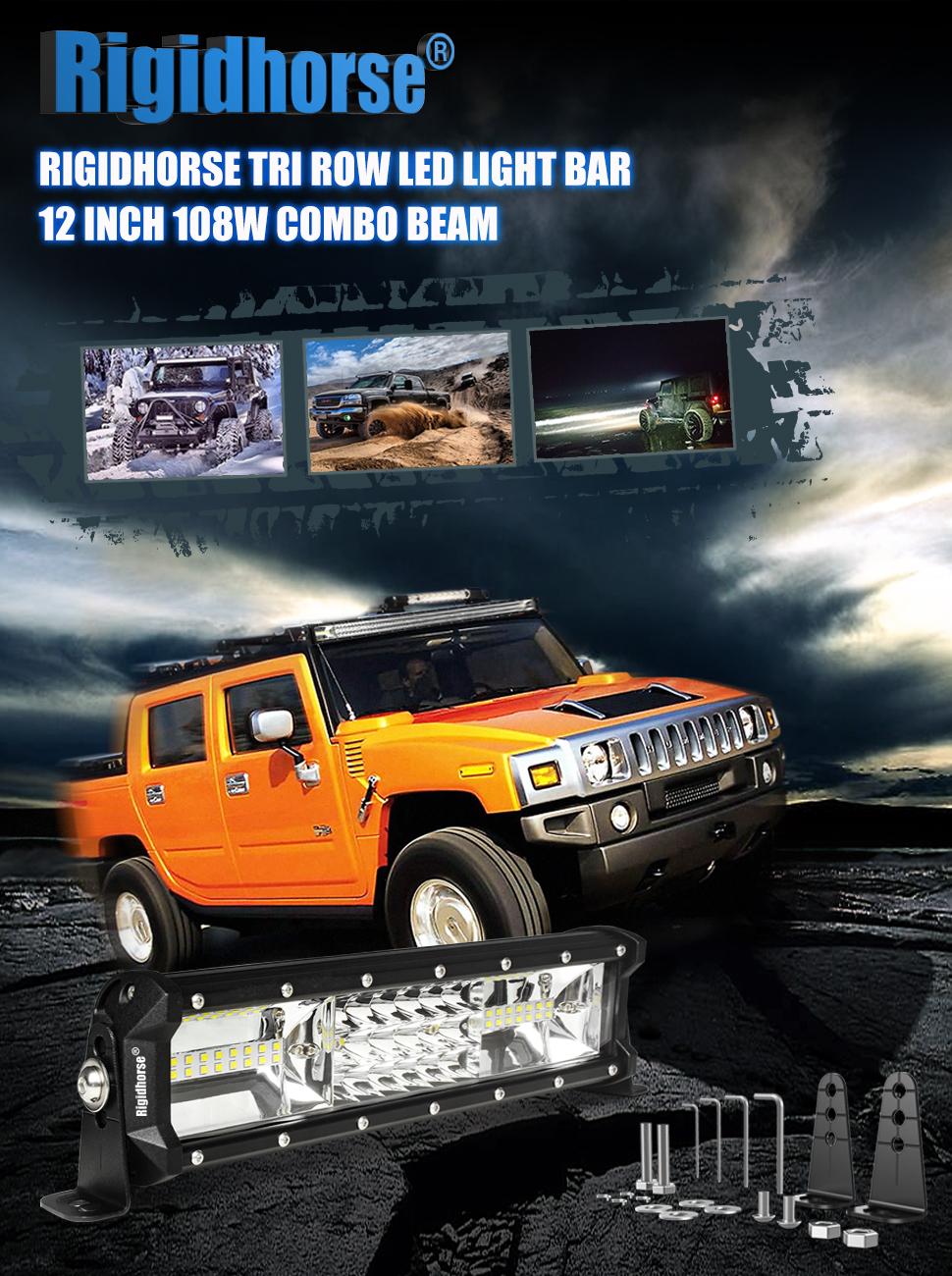 Led Light Bar Rigidhorse Triple Row 12 Inch 108w 96 Hummer Wiring Diagram Product Description