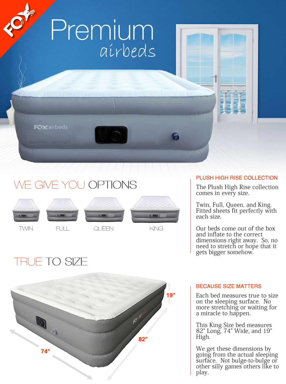 King Size Plush High Rise Air Mattress by Fox Air Beds - Raised King Inflatable  Bed