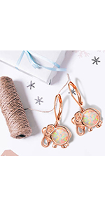 elephant earrings, opal earrings rose gold plated for women and girls