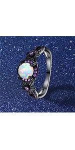 black gun plated opal ring for women and men