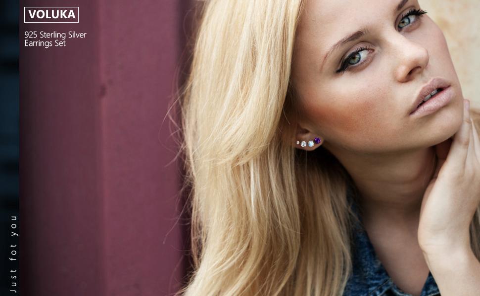 925 sterling silver earrings for women,4 pairs stud earrings sterling silver,hypoallergenic earrings