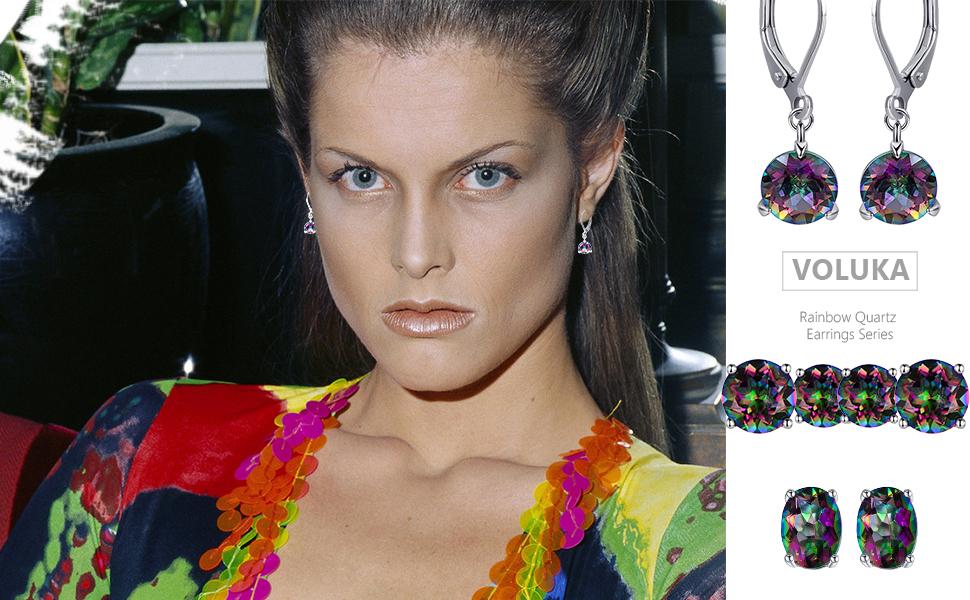rainbow quartz earrings for women,6mm stud earrings,8mm stud earrings,leverback earrings