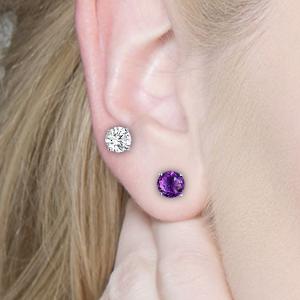created amethyst earrings for women,opal stud earrings,silver earrings for girls,nickle free earring
