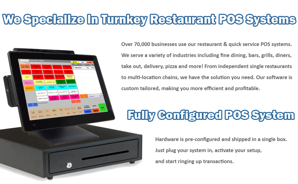 Restaurant Point Of Sale System Includes Touchscreen Pc Pos Software Rpe Receipt Printer Cash Drawer And Credit Card Swipe Reader
