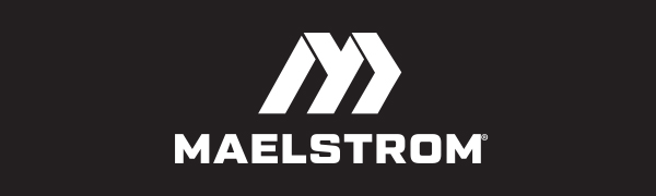 Maelstrom Logo in White on Black Background
