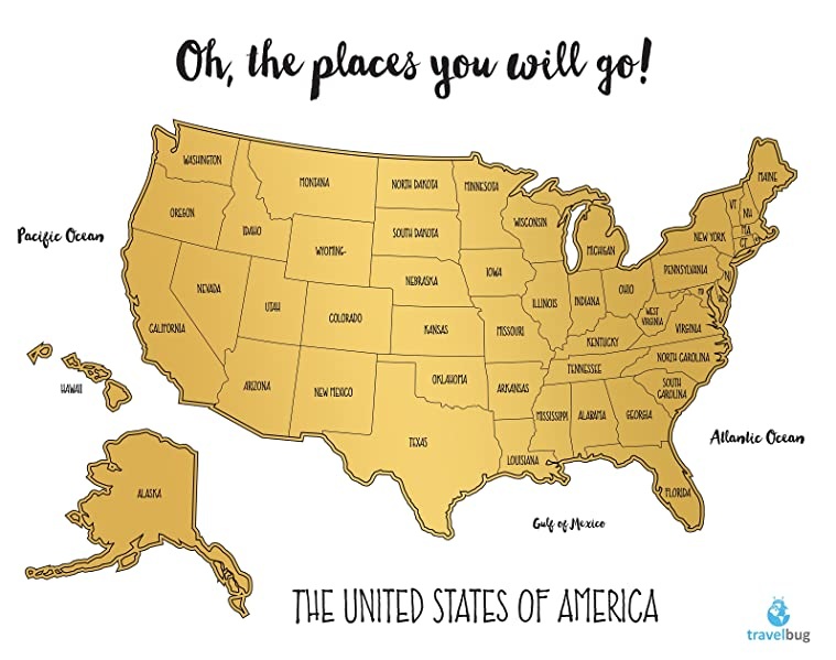 Amazoncom Watercolor United States Of America Scratch Off Map - States map of the united states