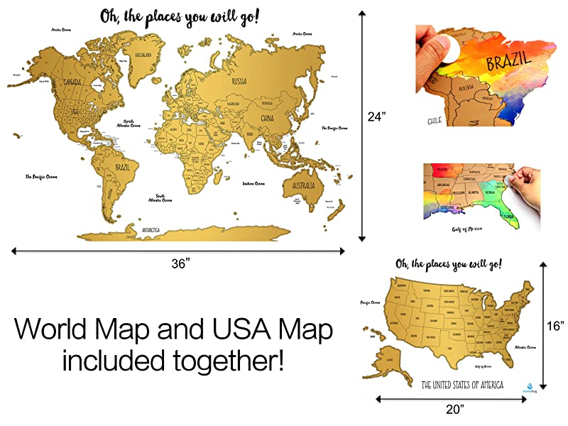 Amazoncom  Set of 2  Watercolor World and United States Scratch