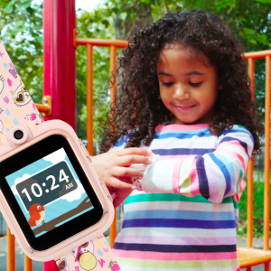 Playzoom Kids Smartwatch with Mint Cat Print Strap