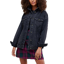 Tsher Womens Oversize Vintage Washed Denim Jacket Long Sleeve Classic Loose Jean Trucker Jacket D003