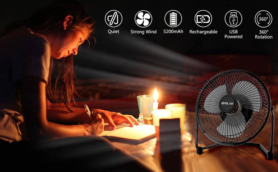 battery fan for power shortage