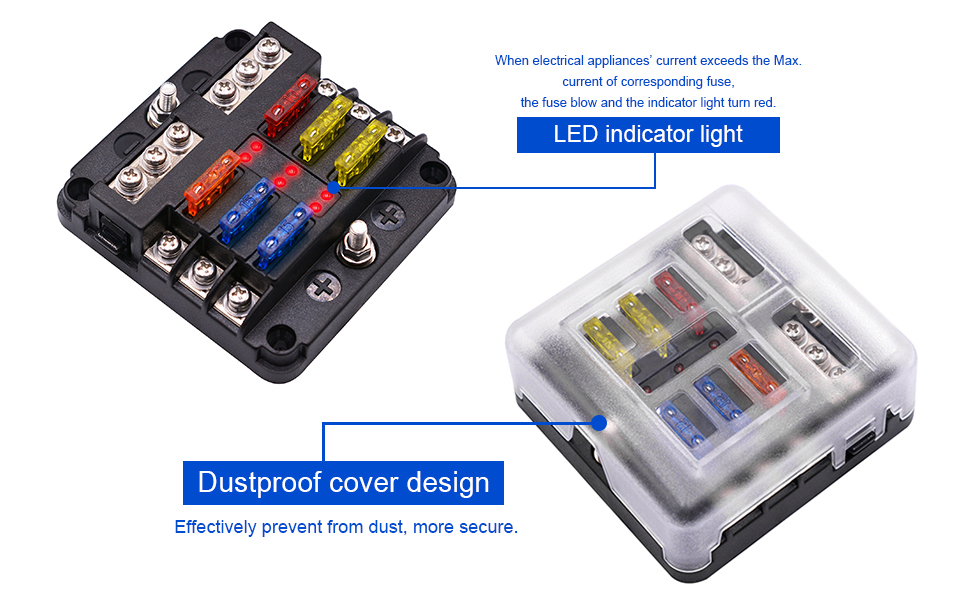 bluefire upgraded 6 way blade fuse box fuse box holder standard circuit fuse holder box block with led light indication \u0026 protection cover for car hidden wall safe emergency power kit for chevrolet volt