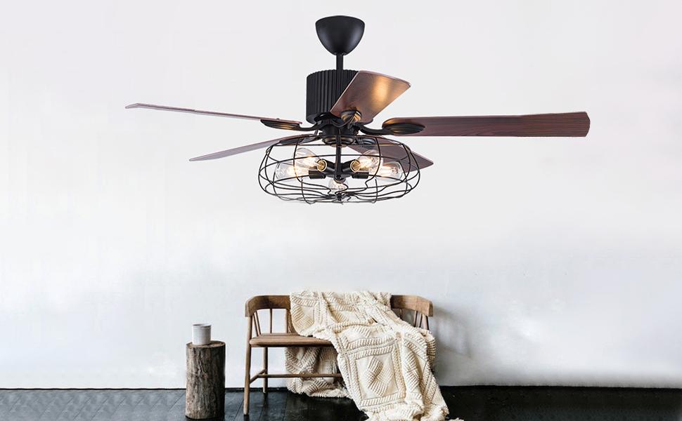 Ceiling Lights & Fans Generous Loft Fan Chandelier Retro Dining Room Household Electric Fan Mute Led Remote Leaf Fan Lamp Lights & Lighting