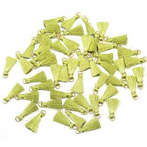 25PCs Random Color Gold Stripe Tassel DIY Earrings Necklace Jewelry 5.5cm