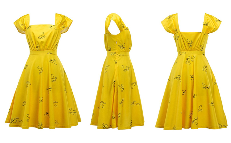 db33729203c4 IDEALSANXUN Womens Bright Yellow Cap Sleeve Lovely Cocktail Floral ...