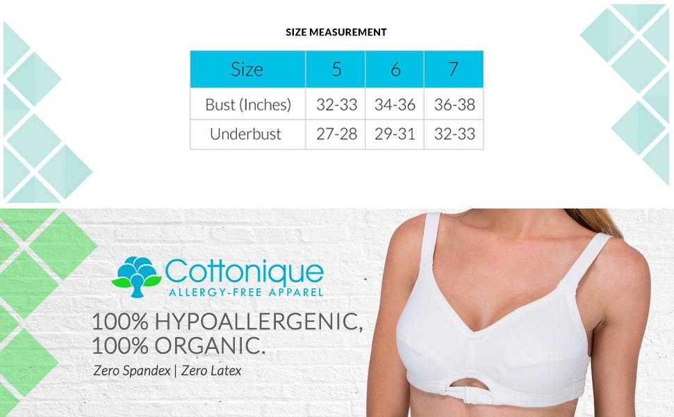 8786e77d08 Amazon.com  Cottonique Women s Hypoallergenic Slimfit Drawstring Bra ...
