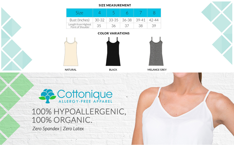 0572a6879c6 Cottonique Women s Hypoallergenic Full Slip Made from 100% Organic ...