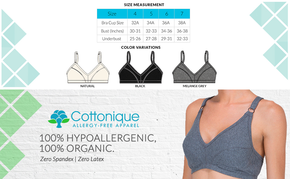33be800e87f3c Cottonique Women s Hypoallergenic Slimfit Pullover Bra Made from 100 ...