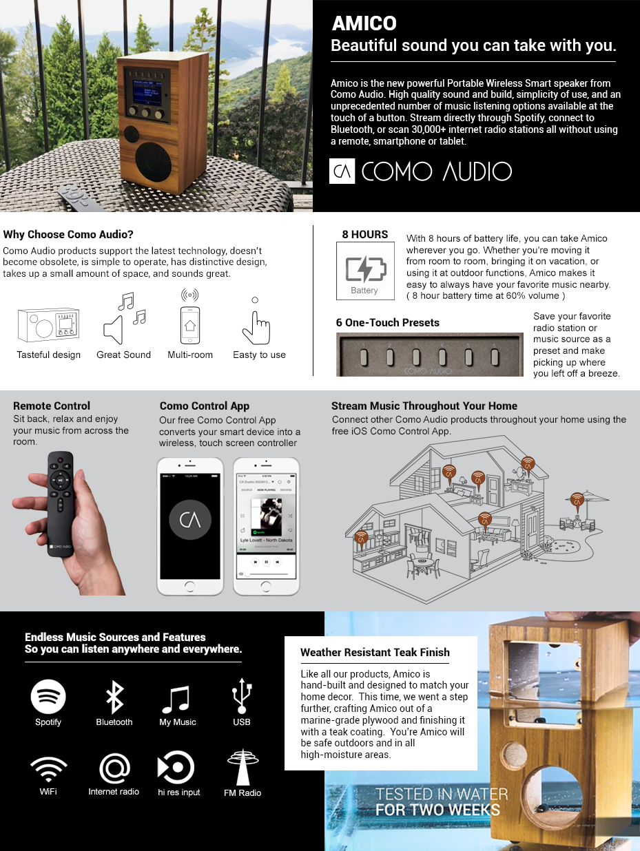 Amazon.com: Como Audio: Amico - Portable Wireless Music System with ...