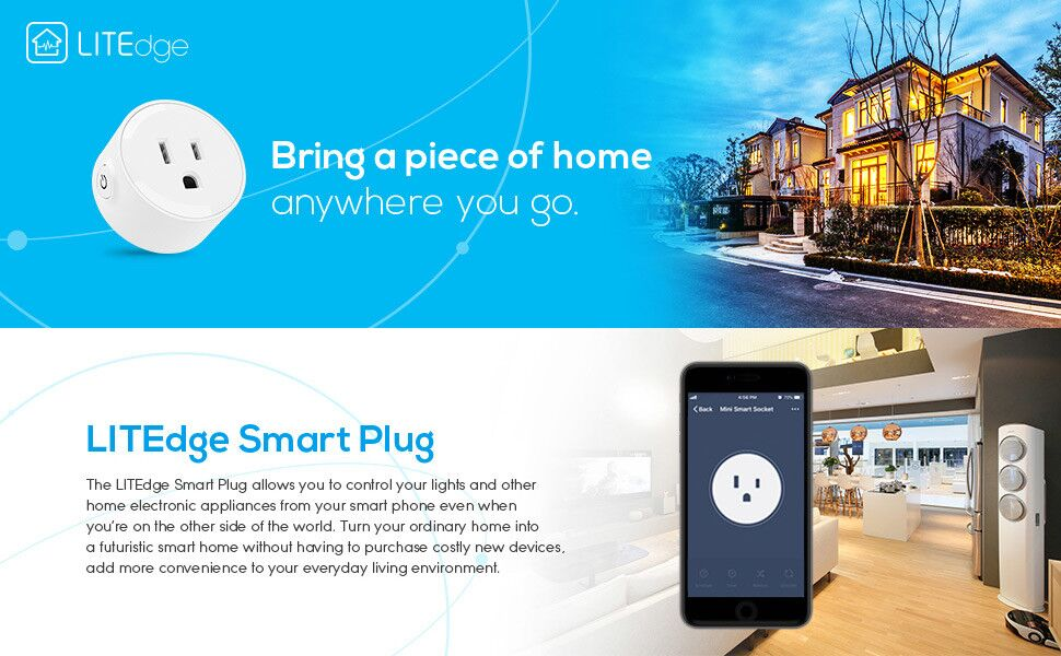LITEdge Smart Plug, Compatible with Alexa, Wi-Fi Accessible