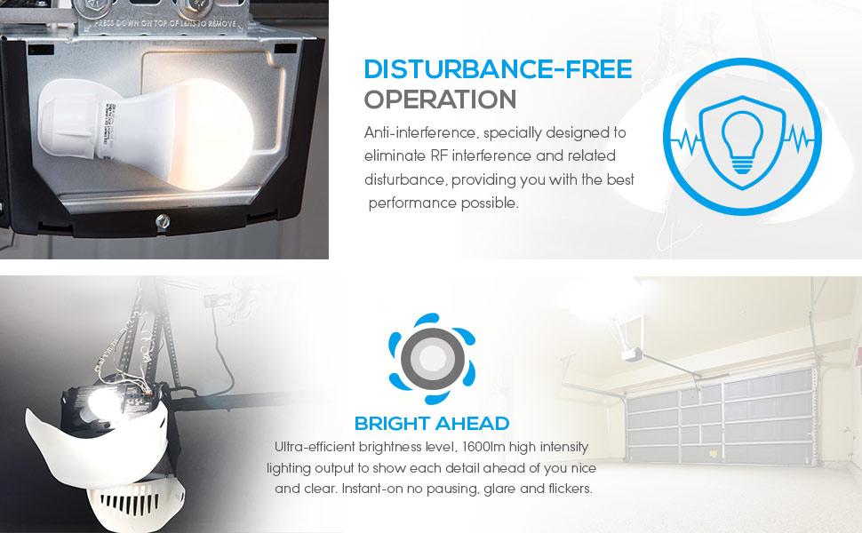 Garage Door Opener LED Bulb, 100W Equivalent LED A19 Light ...