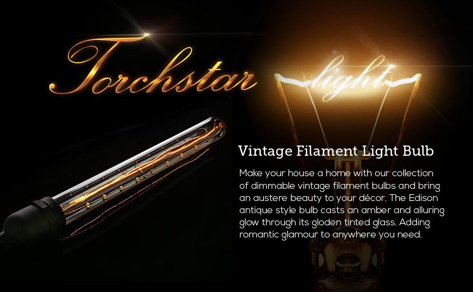 Long Filament T30 (T10) Vintage Light Bulb, Flute Tungsten, Golden Tinted  Glass, 300mm, 2500K Sunrise White, E26 Base for Pendant, Chandelier,