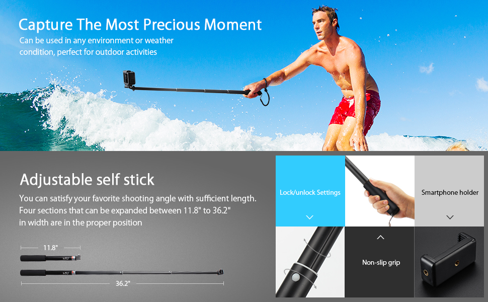 Extendable Selfie Stick,Waterproof Hand Grip for GoPro Hero(2018)/Hero Fusion/GoPro Hero 7/6/5/4/3