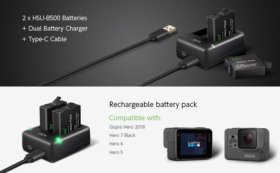 Battery (2-Pack) and Dual Charger - for Gopro Hero 2018, Hero 7 Black, Hero 6 Black and Hero 5 Black