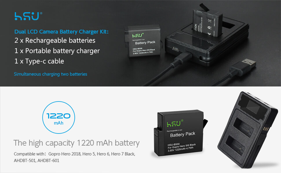 Replacement Batteries and Dual LCD Camera Battery Charger for Gopro