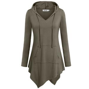a8ab67a4e5ca Tencole Uneven Hemline Hoody Shirt Kangaroo Pocket Tunic Long Sleeve ...