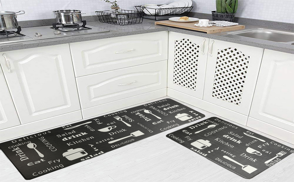 Anti Fatigue Kitchen Rug Sets 2 Piece used in the kitchen floor