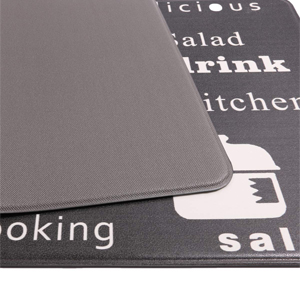 the detail photo of the non slip/skid backing of the anti fatigue kitchen rug set