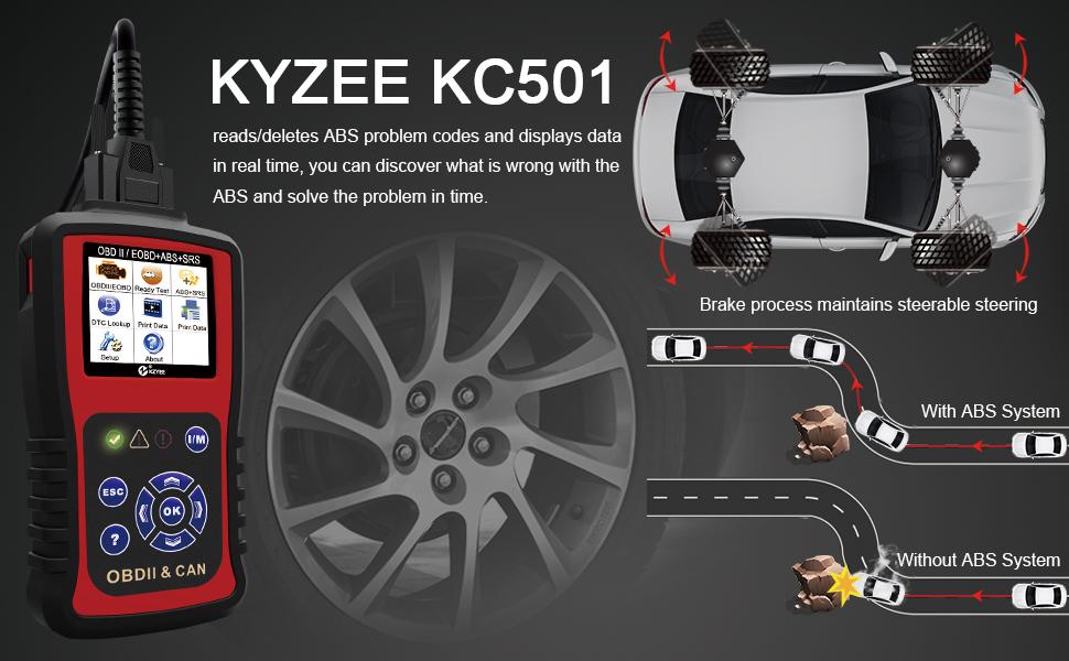 KC501 EOBD OBD2 Code Reader ABS Airbag Engine Light Reset O2 Sensor Test Scanner
